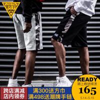 AND 夏季新款迷彩刺绣拼接休闲运动短裤男国潮牌五分裤子