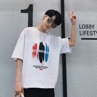 情侣短袖t恤男士夏季韩版港风中长款三彩印花潮流宽松夏天体恤衫