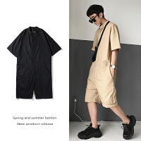 夏季T恤男士休闲运动套装韩版宽松学生连体工装短裤潮流五分裤子