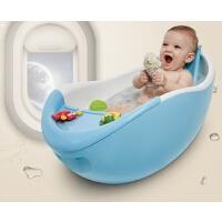 婴儿浴盆新生儿洗澡盆儿童浴盆护脊仿生浴盆带滚轮