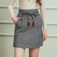 冬装新品 高腰格子呢流苏腰带包臀裙格纹羊毛呢半身裙女