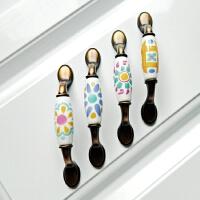 现代简约地中海复古陶瓷拉手抽屉美式田园厨房鞋衣柜门把手