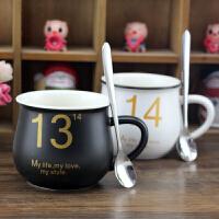 1314套杯带勺咖啡杯情侣陶瓷杯节日生日礼物创意送女朋友小礼品SN9102 一对
