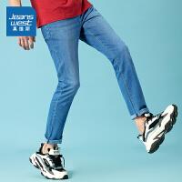 [限时抢价格:77.9元,限5月12日-5月30日]真维斯男装弹力7.8安十字纹轻洗水牛仔裤