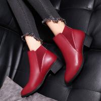 彼艾2017新款短靴子女秋单靴冬季高跟鞋百搭尖头裸靴马丁靴粗跟女靴