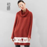 初语新款 中长款时尚图案堆堆领罗纹针织显瘦毛衫女84404*169
