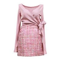 小香风气质名媛套装裙女秋春2018新款时尚针织上衣加半身裙两件套 粉色