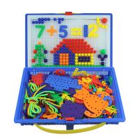 大号穿线板蘑菇钉拼图儿童智力立体智慧拼图蘑菇钉组合拼插板玩具