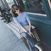 2018新款春装女时髦套装时尚小个子社会休闲女士裤子两件套春秋潮 蓝色