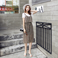 夏季新女装韩版圆领T恤雪纺吊带连衣裙中长显瘦两件套潮