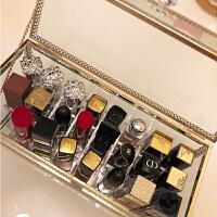 玻璃桌面化妆品口红收纳盒架子防尘翻盖透明韩国唇膏整理盒防水
