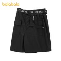 【3件5折价:65】巴拉巴拉女童裤子夏装儿童中裤女大童字母腰带洋气个性潮