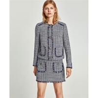 秋装新款毛呢小香风格纹套装高腰气质时尚百搭外套+裙子