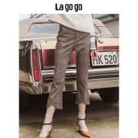 【清仓3折价107.7】Lagogo/拉谷谷2019秋季新款复古格纹裤HCKK448A63