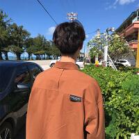 男士百搭长袖衬衫春季韩版潮流宽松衬衣港风情侣寸衫
