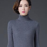 冬季新款�n版高�I套�^毛衣女士修身色��羊毛衫加厚打底羊�q衫