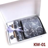 8晚会结婚男士职业英伦复古 腰花领带夹袖扣方巾领带礼盒套装呔 灰色 KW-01