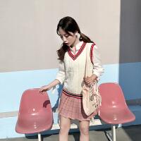马甲女短款韩版学院风秋百搭针织背心软妹学生V领无袖坎肩毛衣潮