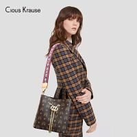 Clous Krause ck包包女包2019新款单肩斜挎包时尚百搭链条水桶包印花包宽肩带斜挎包单肩女包