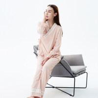 古莉欧日式纯棉睡衣女春秋长袖系带性感蕾丝可外穿家居服套装薄款