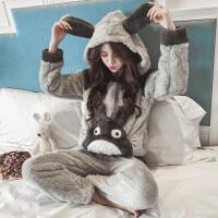 秋冬珊瑚绒睡衣女冬季韩版公主风甜美可爱法兰绒可外穿家居服套装 连帽龙猫长毛绒