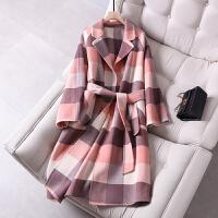 双面羊绒大衣女高端流行粉色格子长款宽松赫本风呢子外套 粉红色格子 X