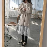 2018春装韩版宽松加绒卫衣外套+打底蕾丝连衣裙两件套女时尚套装