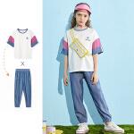 【2件3折:109】巴拉巴拉旗下儿童套装女童T恤2020新款夏装网红洋气印花中大童装