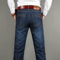秋季牛仔裤男直筒宽松秋冬款厚款男士大码商务加绒中年牛仔裤