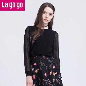 Lagogo春新款女装秋装黑色针织衫套头女秋冬外搭镂空性感长袖