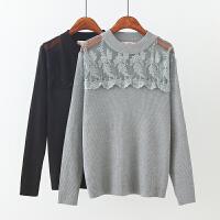 大码女装秋冬新款韩版蕾丝刺绣花边圆领长袖针织衫打底衫上衣
