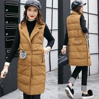 棉衣马甲女士外套冬季新款女装韩版中长款加厚棉衣外套女潮羽绒棉 卡其色 XL