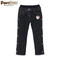 【秒杀价:90】Pawinpaw宝英宝韩国小熊童装女童水洗牛仔裤加绒