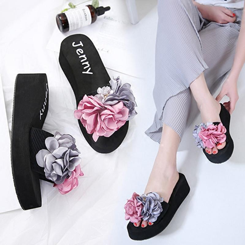 沙滩鞋女拖鞋海边度假防滑平底一字拖凉鞋夏季新款时尚外穿花朵