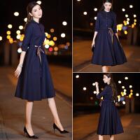 安妮纯连衣裙春装2020新款女装韩版时尚收腰裙子女中长款气质修身a字裙