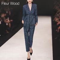 FLEUR WOOD2017秋季新款女装欧洲站修身小流苏格子外套小脚裤套装