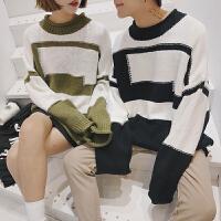新款情侣装秋冬季男女韩范时尚几何图案落肩宽松圆领套头毛衣针织