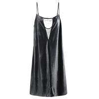 让我留在你身边秋冬性感睡衣女家居服镂空拼接丝绒吊带睡裙 黑色 少量现货 均码(仅睡裙1条)