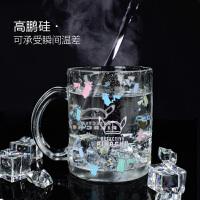 皮卡丘水杯大侦探皮卡丘周边创意可爱玻璃杯遇冷变色动漫水杯家用透明饮水杯 皮卡丘冷变杯 430ML