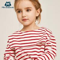 【每满299元减100元】迷你巴拉巴拉女童海军领T恤2019春装新款儿童宝宝学院风体恤衫
