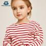 【满200减130】迷你巴拉巴拉女童海军领T恤2019春装新款儿童宝宝学院风体恤衫
