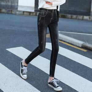 2018女装新款打底牛仔裤韩版修身显瘦小脚裤子夏季弹力铅笔裤