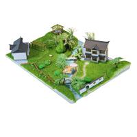 迷你手工玩具屋小房子diy小屋中�A庭院古典民居��意模型