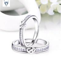 925纯银镀白金 开口可调节情侣对戒 缠绕的心戒指 指环七夕礼物