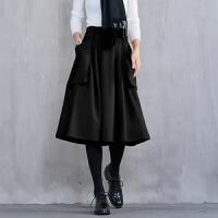 秋冬韩版女装黑色高腰A字裙子休闲气质百搭羊毛呢半身裙 黑色