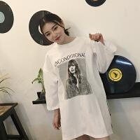 新款bf原宿风韩版潮流T恤女中长款宽松个性印花上衣开叉上衣百搭 均码