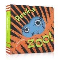 英文原版绘本 Peek a Zoo 猜猜动物园 英文绘本 peek a who猜猜我是谁姊妹篇 躲猫猫游戏 洞洞纸板书