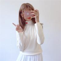 韩国软妹半高领打底衫女秋装韩版学院风爱心刺绣长袖T恤上衣百搭