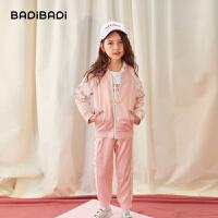 【2件4折:215.6】巴拉巴拉旗下 巴帝巴帝2019秋新款女童中大童甜美蕾丝拼接儿童运动套装