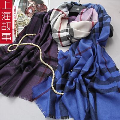 上海故事新款纯羊毛渐变色女款围巾披肩韩版长款格子百搭围脖男女通用